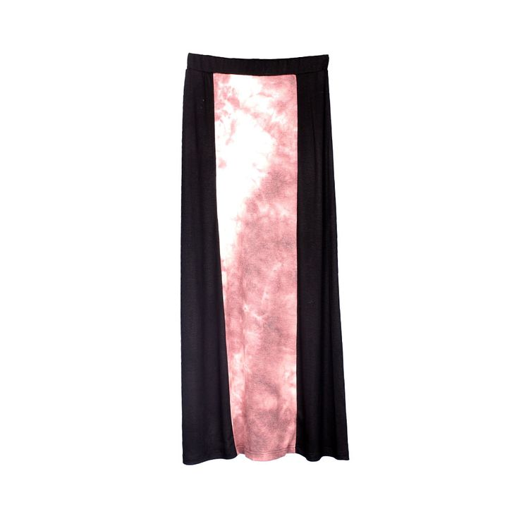 Falda larga acampanada con aplicación en tela degradé.