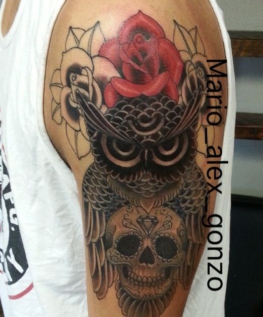 #owl #blackandgrey #skull #rose #tattoos add my husband mario_alex_gonzo for more info &work