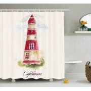Lighthouse Decor Shower Curtain Set, Watercolor Lighthouse Print Pastel Faded Vintage Cursive Lettering Windows Grass Clouds, Bathroom Accessories, 69W X 70L Inches, By Ambesonne