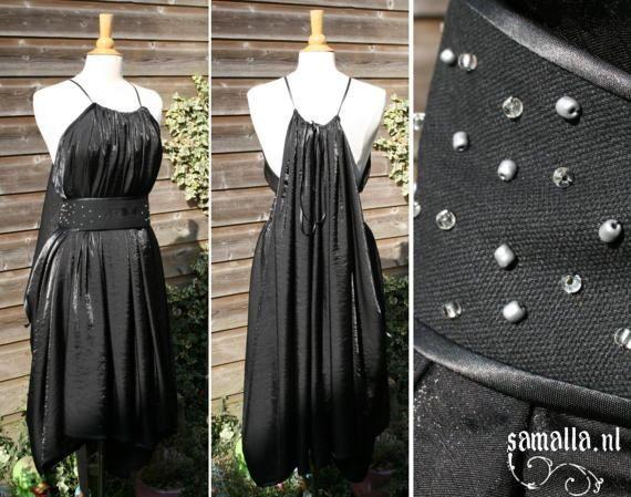 Shae Handmaiden Dress in silver-black with belt  one by SamallaNL