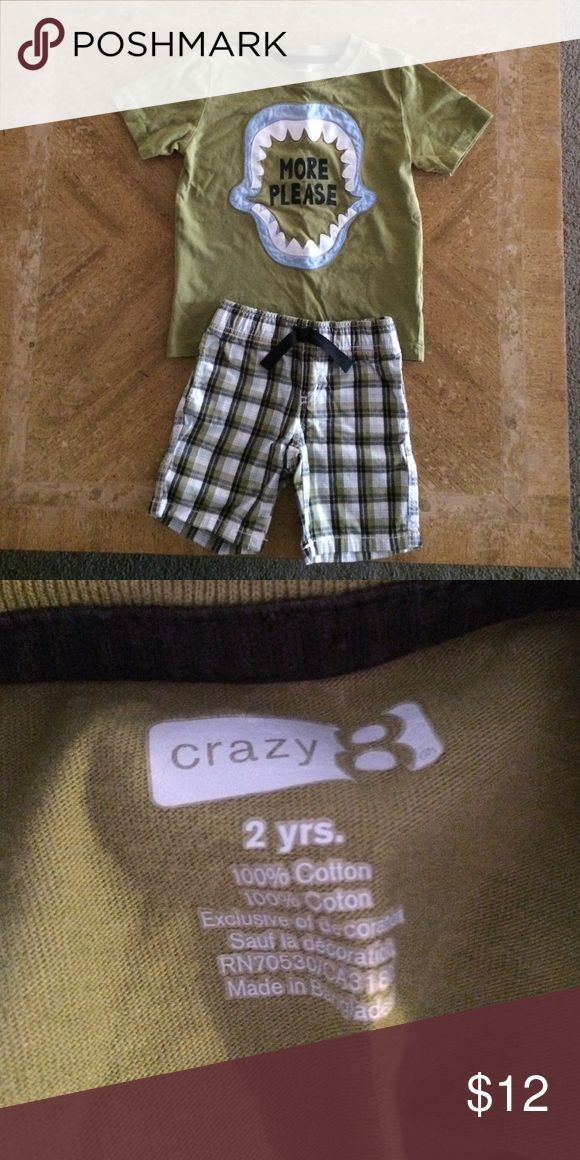 Crazy 8 shark shirt and shorts Crazy 8 boys set- MORE PLEASE Shark shirt and plaid shorts with pockets on the back Crazy 8 Matching Sets