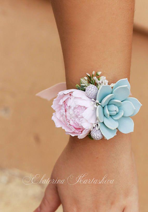 Wedding Corsage succulent corsage wrist wedding accessories