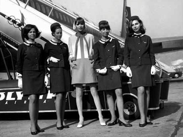 Olympic chic from mid 1960s when the airline was still owned by Onassis