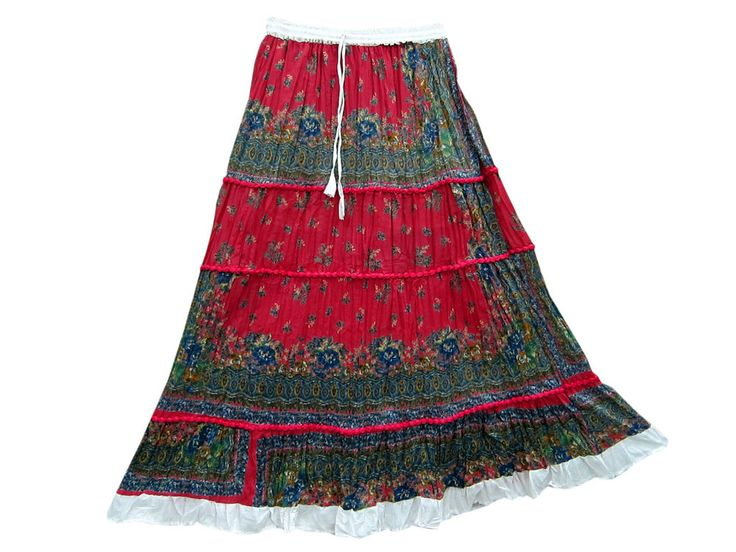 Ladies Fashion Long Boho Skirt Red Green Floral Print Patch Skirts