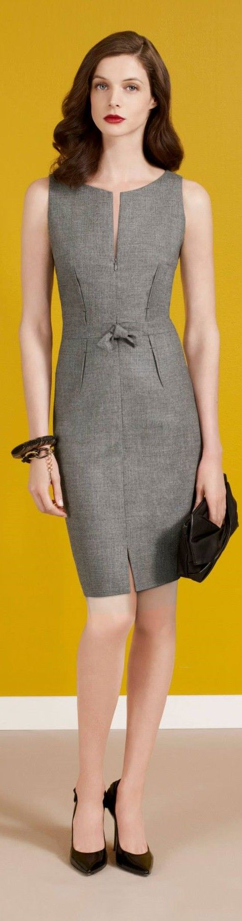 Paule Ka 2015 gray dress. Fall autumn women fashion outfit clothing stylish apparel @roressclothes closet ideas