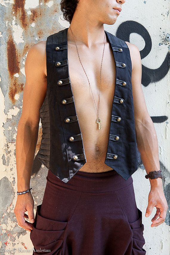 Sexy military style men's vest with pleated leather.