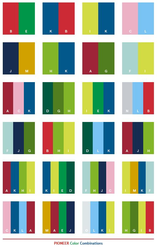 Pioneer color combinations