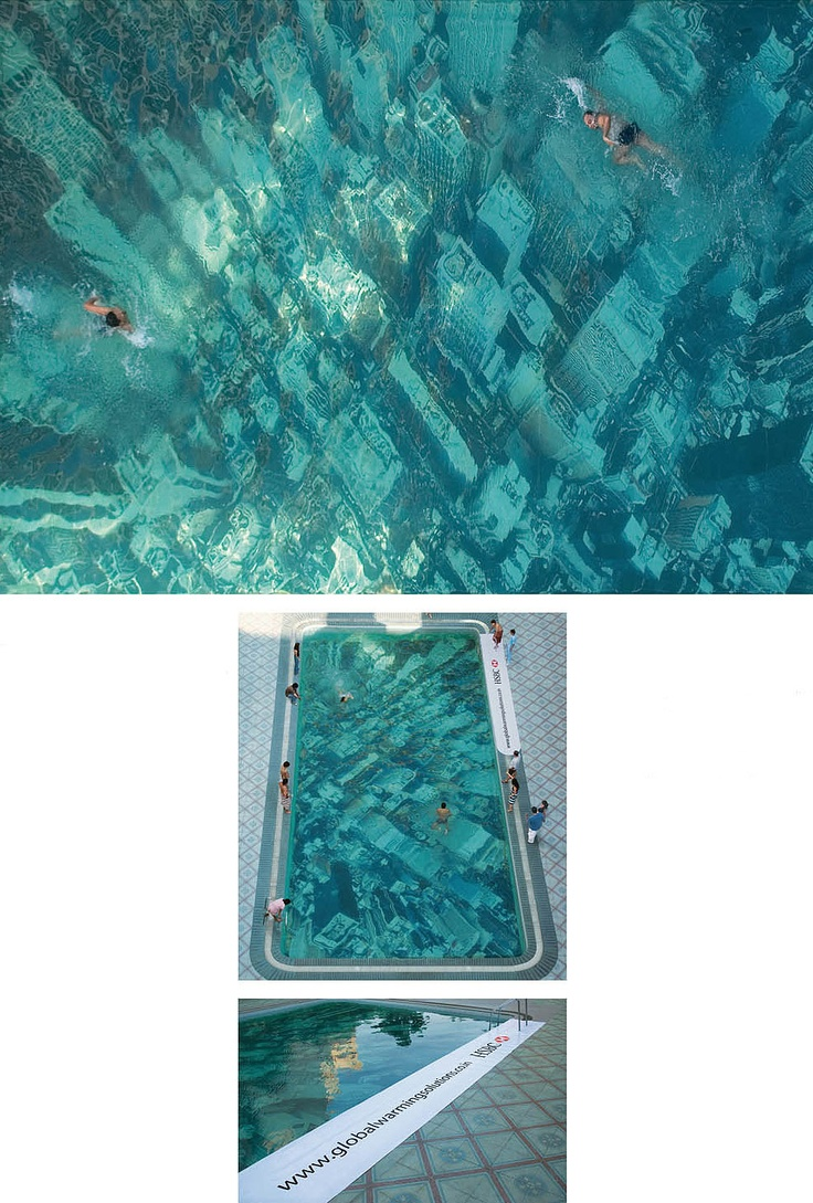 Global Warming pool in Mumbai, India, has been built to raise awareness about the threat of sea level rises. It was constructed by attaching a giant aerial photograph of the New York City skyline to the floor of the pool, giving the illusion of a submerged city. By advertising agency Ogilvy & Mather for HSBC to promote its project tackling climate change.: Advertising Agency, Projects Tackle, Submerged Cities, Swim Pools, York Cities, Warm Pools, Climate Changing, Mumbai India, Cities Skyline
