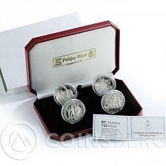 Isle Man Set of 4 Silver Coin 1 Crown UEFA European Football Championship 2012