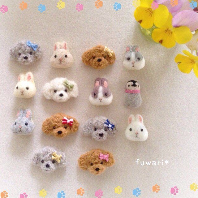 Cute Needle felted project wool animals bunnies dogs(Via @maron3339)