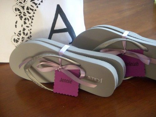 To include as part of the gift for the bridesmaids - flip flops to wear at the reception