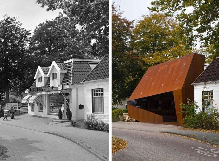 Pand aan de Weerdingerstraat, Emmen, de voor en na foto. Tja, architectuur... smaken verschillen maar ik vind het pand nu verschrikkelijk lelijk!