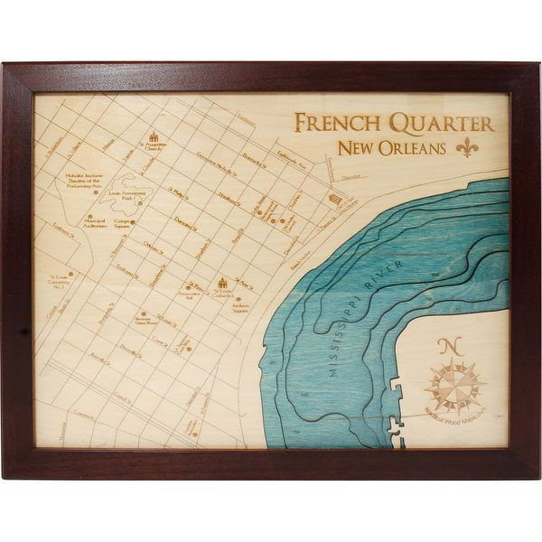 """3D Nautical Wood Map bathymetric chart and map of the French Quarter in New Orleans LA. 12"""" x 15"""". Personalize with custom locations, icons, and wood type."""