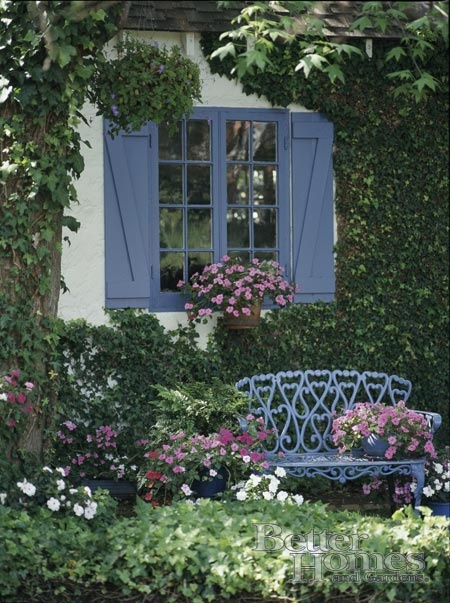 Blue french shutter windows