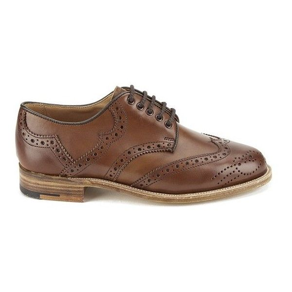 Knutsford by Tricker's Women's Leather Brogue Shoes - Beechnut ($545) ❤ liked on Polyvore featuring shoes, oxfords, tan, tan flat shoes, flat oxfords, flat shoes, leather oxford shoes and leather brogues