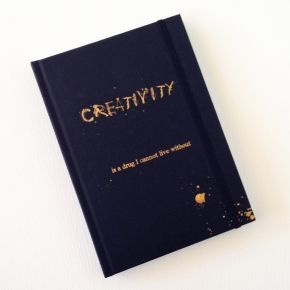 creativity notebook 	  Creativity is a drug I cannot live without. #notebooks #storymood  Hard cover black notebook dimensions : 18 cm x 12,5 cm x 1,5 cm  with 192 white blank pages