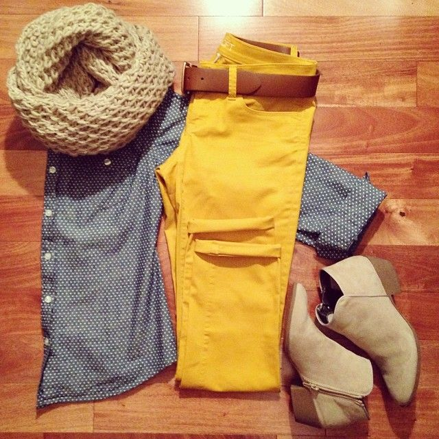Tan scarf, mustard pants, chambray shirt, ankle boots