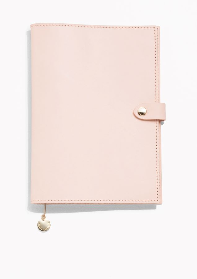 & Other Stories image 1 of Leather A5 Notebook Cover in Light Pink
