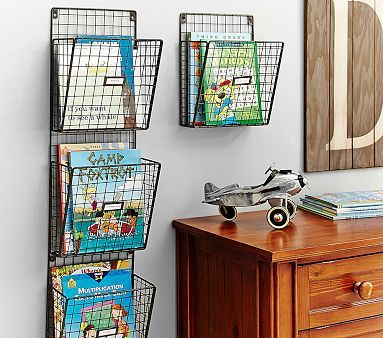 Wire Magazine Rack.  Pottery Bard Kids.  Would be nice catch all for kitchen.
