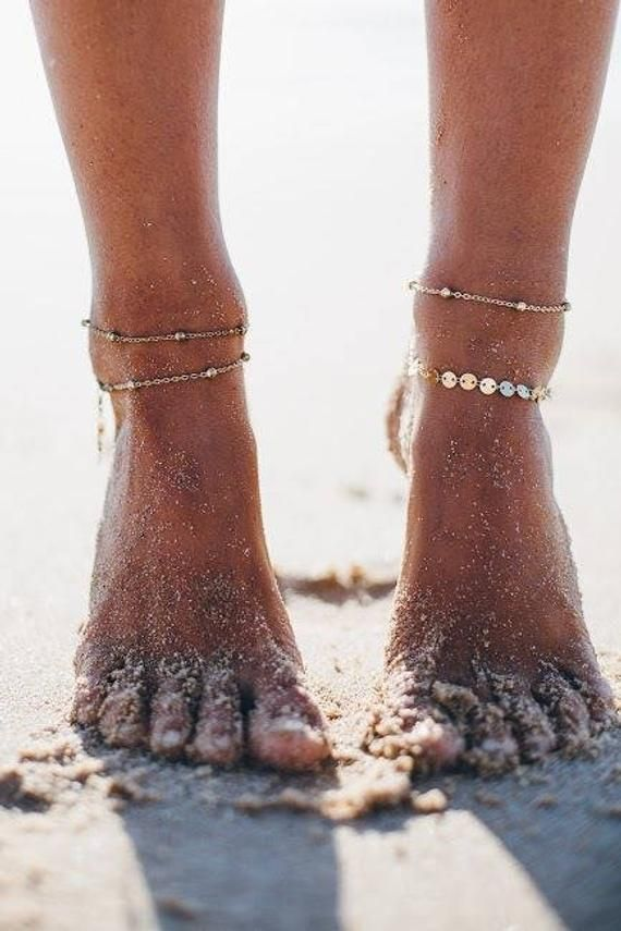 Thin and delicate anklet in 14 carat gold. * Disc Chain Anklet * 14k Gold Fill * Disc ...