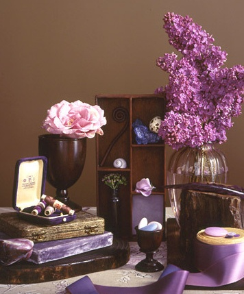 wedding display lilac chocolate brown event party
