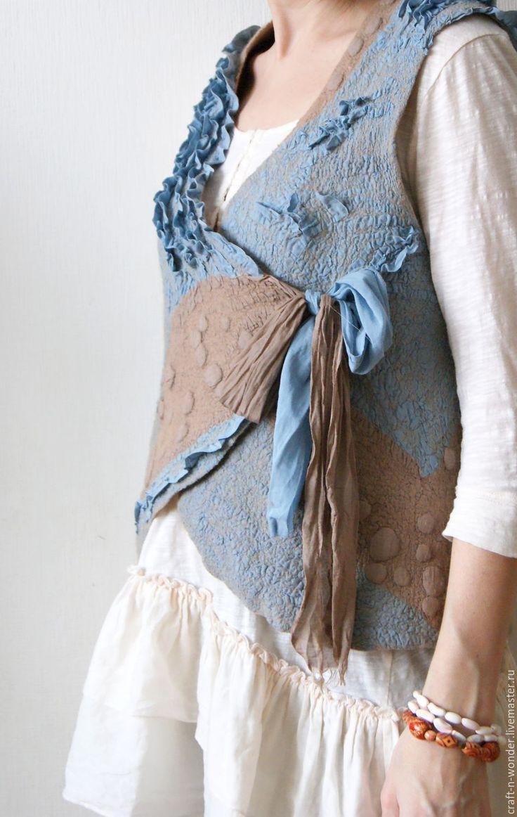 """Blue + brown felted vest / Купить Жилет войлочный """"И воды были - серебро"""" - голубой, бежевый, песочный, Жилет войлочный"""