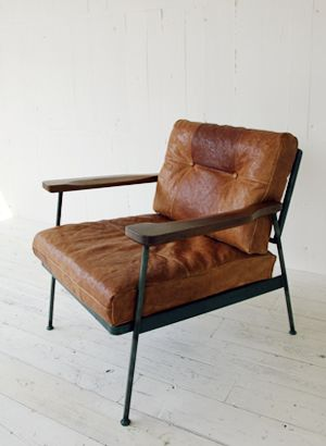 Leather metal comfort chair mid cent