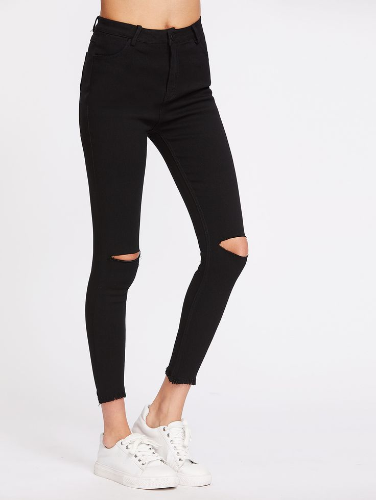 Shop Knee Cut Frayed Hem Skinny Jeans online. SheIn offers Knee Cut Frayed Hem Skinny Jeans & more to fit your fashionable needs.