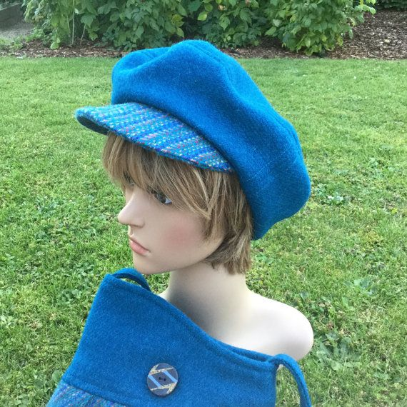 Cap sewn from Harris Tweed - turquoise