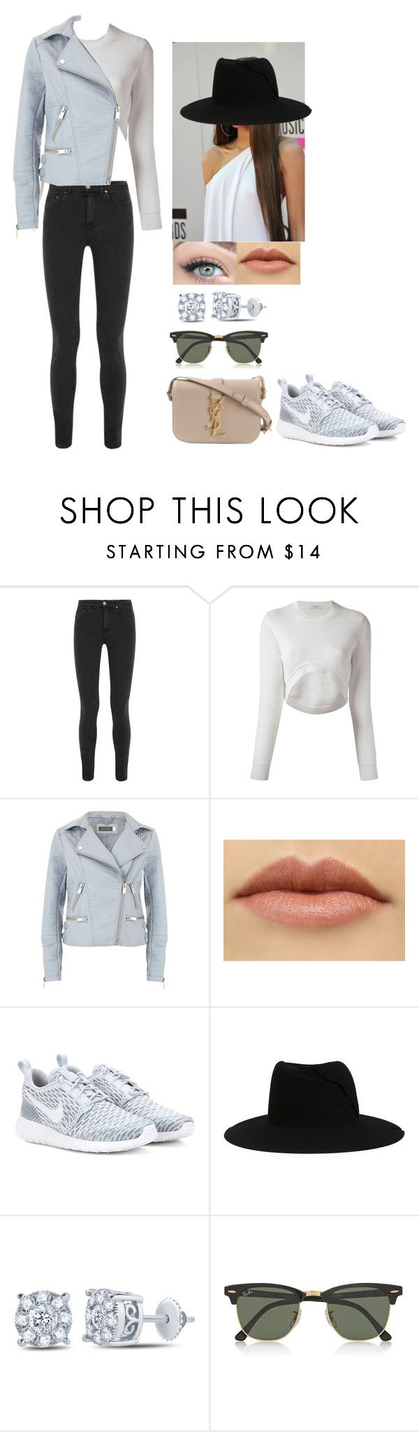 """Candids"" by teaand-kisses ❤ liked on Polyvore featuring Acne Studios, Givenchy, Mint Velvet, NIKE, Coleman, Maison Michel, Ray-Ban, Yves Saint Laurent, women's clothing and women"