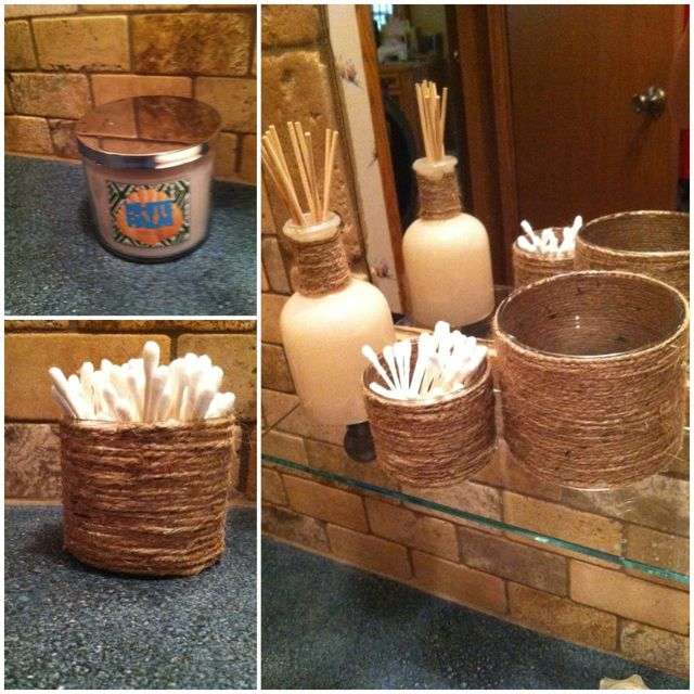 I did a little DIY project last night. Made these cute little bathroom holders out of old BBW candles. I'll make a tutorial soon! They turned out so cute :)