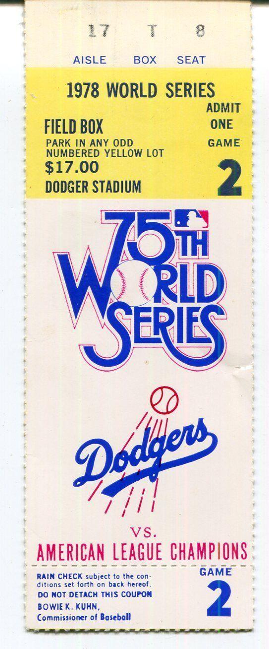 1978 World Series Ticket Stub Dodgers Vs Yankees Game 2