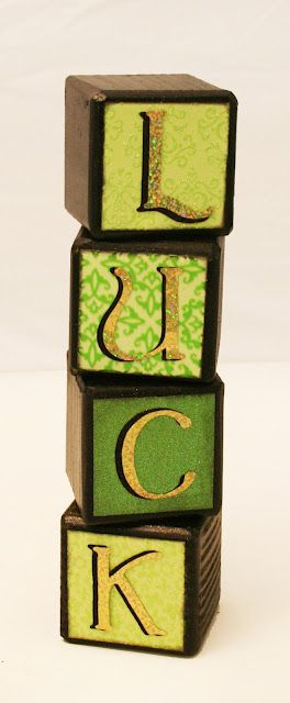 St. Patrick's Day Luck Blocks - For How To & Supplies Used click on photo #st-patricks-day