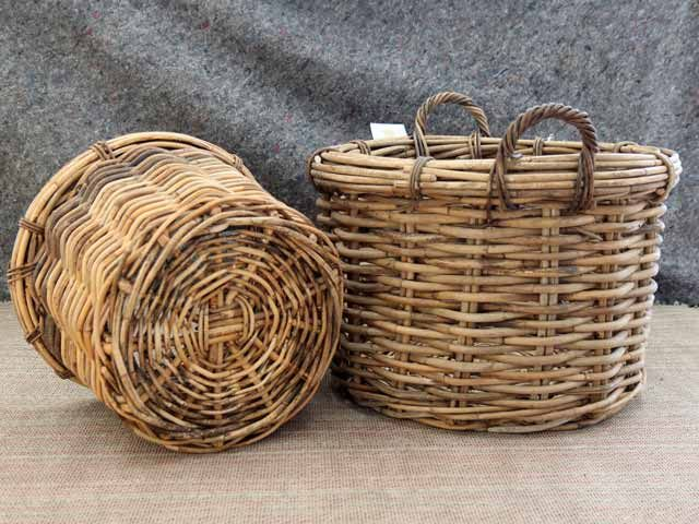 Rose Round Baskets With Handles #basket #logs #fireplace #storage