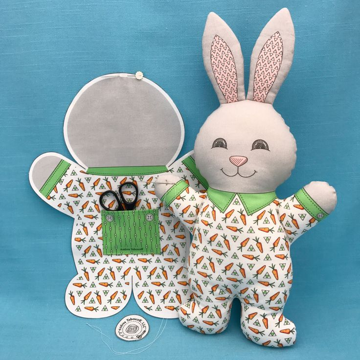 """Bunny in Pajamas"" is sewing on a back pocket that can hold treasures. All my Cut and Sew Pajama Animal toys have back pockets that are large enough to hold a gift card. All are available in my Spoonflower shop. Link in Profile."
