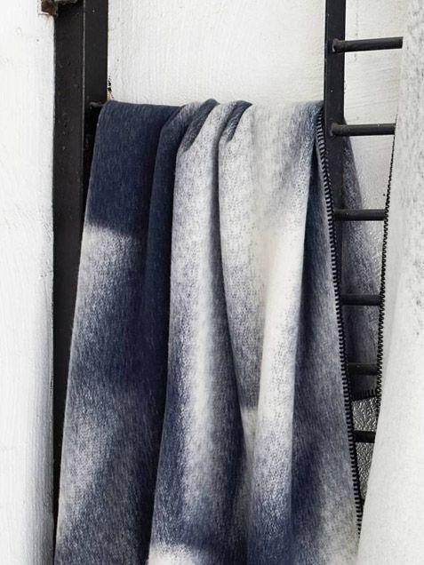 Islandskap Blue Nature Blanket by Røros Tweed