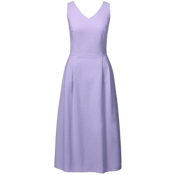 Lands' End Women's Petite Sleeveless Woven V-neck Dress ($70) ❤ liked on Polyvore featuring dresses, purple, purple dresses, smock dress, petite dresses, lands end dresses and purple sundress