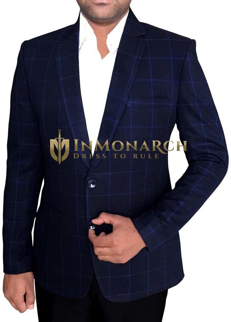 Mens Dark Navy Two Button Blazer Blue Checks