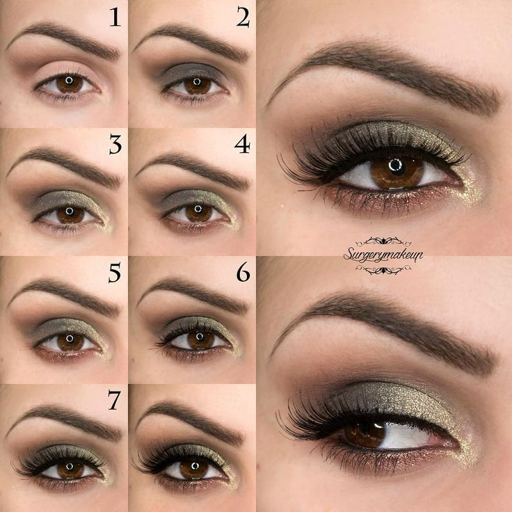 Step by step to create a beautiful green and gold make up.