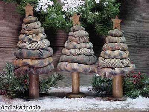 Primitieve Kerstmis Yo Yo Bomen 3 Maten Instant Digital Download E-Pattern ET