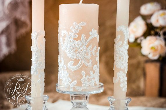 Lace Unity Candle Rustic Wedding Unity Candle Set Vintage