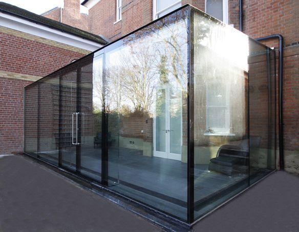 frameless glass box with bespoke flush doors detailing. Black Bedroom Furniture Sets. Home Design Ideas