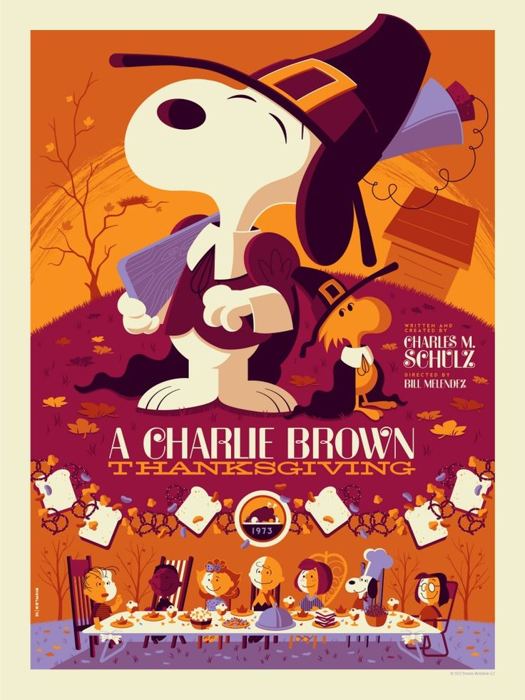 Poster for A Charlie Brown Thanksgiving (1973), reimagined by Tom Whalen