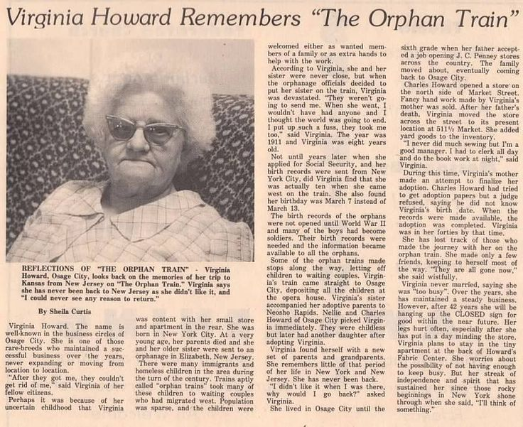 Virginia Howard and the Orphan Train