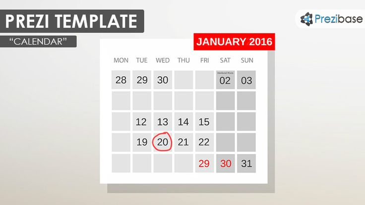 Prezi Template with a simple calendar on a blank wall concept A - countdown calendar templates