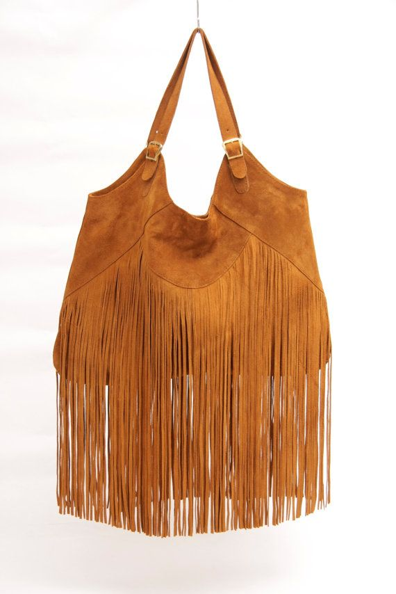 Boho suede leather bag in Tobacco// Made to order by SABRINATACH, $195.00