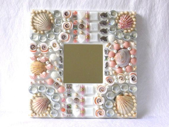 Wall mirror white pink silver, coastal wall decor, nautical mirror, beach shell decor, button art, mirror for wall, beach themed wall art