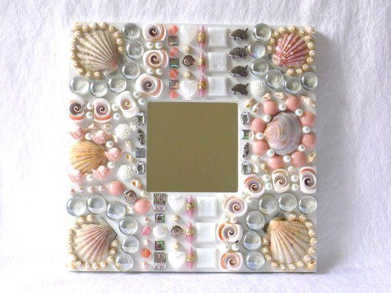 Mosaik Spiegel weiß nautische Wand Dekoration Muschel von LonasART
