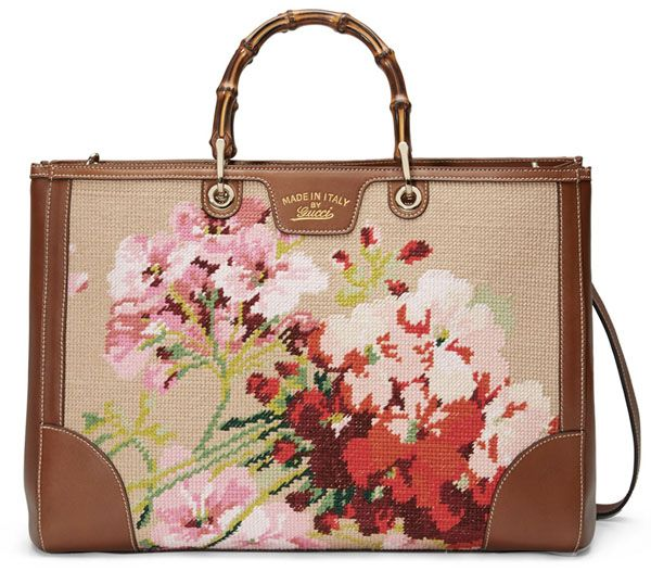 Grandma-meets-Bohemian Chic: Gucci Needlepoint Embroidery Bamboo Tote