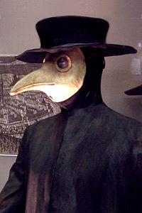 Plague doctor costume from Germany (seventeenth century).  Medico peste - Plague doctor costume - Wikipedia, the free encyclopedia